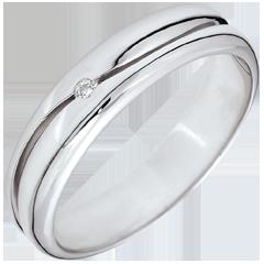 Anello Amore - Fede uomo oro bianco - diamante 0.022 carati - 9 carati