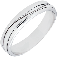 Bague Amour - Alliance homme or blanc 9 carats