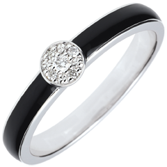 Anillo Claroscuro Solitario - laca negra y diamantes 0. 04 ct