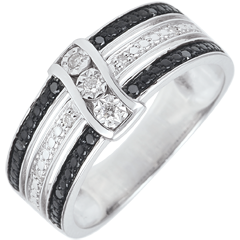 Anello Chiaroscuro - Crepuscolo - oro bianco, diamanti bianchi e neri - 9 carati