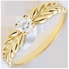 Pierścionek Zaczarowany Ogród - Pierścionek Frezja z jednym diamentem - złoto żółte 18-karatowe - 0,20 karata