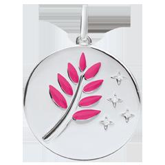 Médaille Rameau d'Olivier - Laque rose - 4 Diamants - or blanc 9 carats
