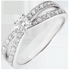 Bague Solitaire Saturne Duo double diamant - or blanc - 0.15 carat - 18 carats