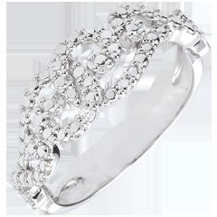 Anello Oro Bianco e Diamant - Arabesche Intrecciate