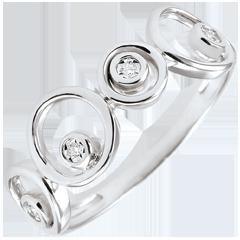 Anello Diamanti ed Oro Bianco Luna - 4 Diamanti