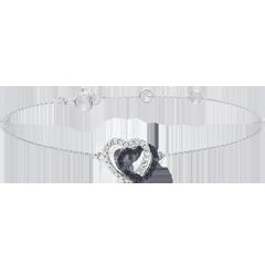 Bracelet or blanc 9 carats diamants blancs et diamants noirs - Coeurs Complices