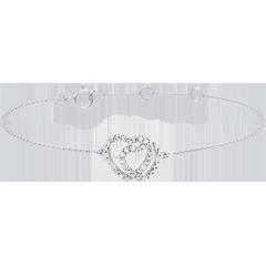 Bransoletka z białego złota 9-karatowego i diamentów - Sprzymierzone Serca