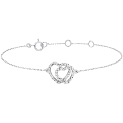 Bracciale Cuori Complici - Oro Bianco - 9 carati - Diamanti Bianchi