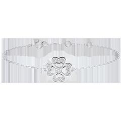 Bracelet Solitaire Éclosion - Trèfle Étincelant - or blanc 9 carats et diamants
