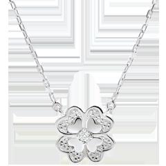 Collar Eclosión - Trébol Deslumbrante - oro blanco 9 quilates y diamantes -