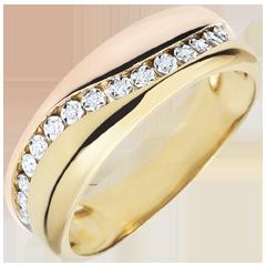 Anello Amore- Multi-diamanti - oro rosa e oro giallo - 9 carati