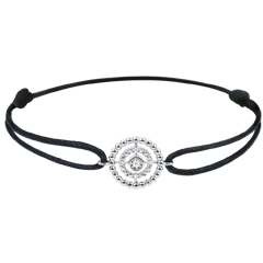 Bracelet Fleur de Sel - cercle - or blanc 9 carats - cordon noir