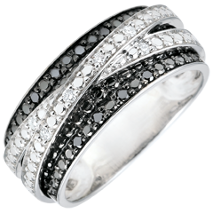 Bague or blanc et diamants noirs Clair Obscur - Ombre portée - 18 carats