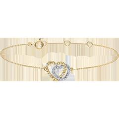 Armband Geweven Harten - tweekleurig goud met diamanten - 9 karaat witgoud en geelgoud