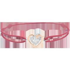 Pulsera Corazones Enlazados - oro rosa y oro blanco 9 quilates y Diamantes - Cordón Rojo