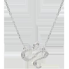 Collier Balade Imaginaire - Serpent Envoutant - or blanc 9 carats et diamants