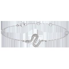Bracelet Balade Imaginaire - Serpent Envoutant - or blanc 9 carats et diamants