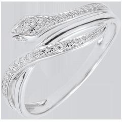 Pierścionek Spacer w Wyobraźni - Olśniewający wąż - złoto białe 9-karatowe i diamenty