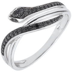 Bague Balade Imaginaire - Serpent Envoutant - or blanc 9 carats et diamants noirs