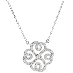 Collar Destino - Trébol Arabesco - oro blanco 9 quilates y diamantes