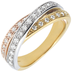 Anneau Saturne Diamant - 3 ors - 29 diamants - trois ors 18 carats