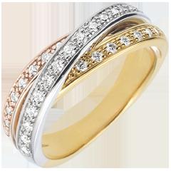 Anillo Saturno diamante - 3 oros - 29 diamantes - 9 quilates