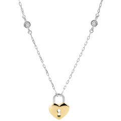 Naszyjnik Drogocenny Sekret - Serce - złoto białe i złoto żółte 9-karatowe