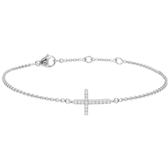 Bracelet Croix or blanc et diamants - 18 carats