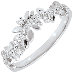 Anello Giardino Incantato - Fogliame Reale - diamante e oro bianco - 9 carati