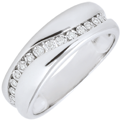 Anillo Amor- Multi-diamantes - oro blanco – 9 quilates
