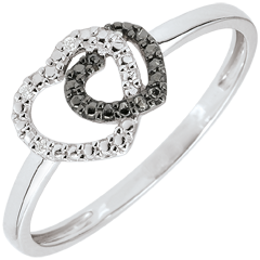 Bague or blanc diamants blancs et diamants noirs - Coeurs Complices