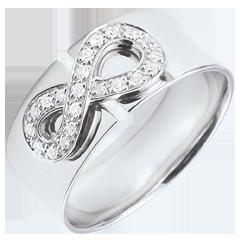 Anillo Infinito - oro blanco y diamantes - 9 quilates