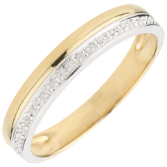 Wedding Ring Elegance - Yellow gold and white gold - 9 carats