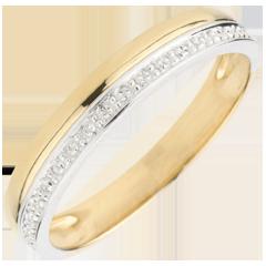 Verighetă Eleganţă - aur alb şi aur galben de 9K