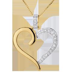 Pendentif Coeur Amazone - or blanc et or jaune 18 carats