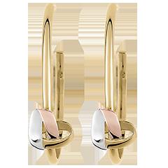 Boucles d'oreilles Créoles Cœur Pliage 3 ors 9 carats