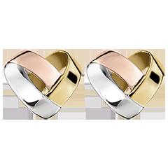 Cercei cu șurub Inimă Împăturită 3 nuanțe de aur de 9K