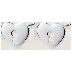 أقراط السر الثمين ـ قلب ـ من الذهب الأبيض 9 قيراط