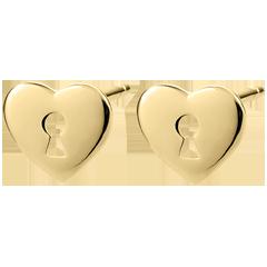 أقراط السر الثمين ـ قلب ـ من الذهب الأصفر 9 قيراط