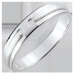 خاتم زواج وعد ـ ذهب بالكامل ـ الذهب الأبيض 9 قيراط المخدوش