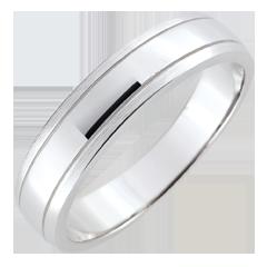 خاتم زواج رجالي الأفق ـ الذهب الأبيض 9 قيراط المصقول