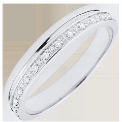 خاتم زواج أناقة الذهب الأبيض 9 قيراط و الألماس