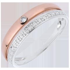 خاتم زواج كوكيت - من الذهب الأبيض و الذهب الأصفر 9 قيراط