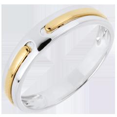 خاتم زواج پروميس ـ من الذهب الأبيض والذهب الأصفر عيار 9 قيراط