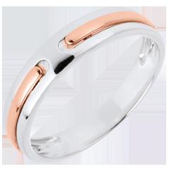 خاتم زواج پروميس ـ ذهب ـ من الذهب الأبيض والذهب الوردي 9 قيراط