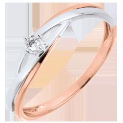 خاتم سوليتير العش الثمين ـ دوفا ـ من الذهب الأبيض والذهب الوردي 9 قيراط ـ
