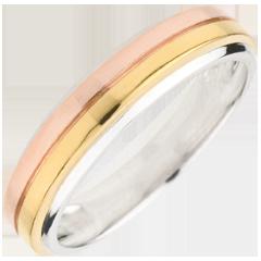 خاتم زواج ثلاثي أوريكا ـ من الذهب الأبيض 9 قيراط