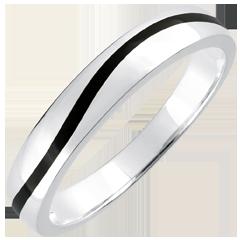 خاتم زواج كياروسكورو للرجال ـ كورب ـ ذهب أبيض 9 قيراط و وبرنيق أسود