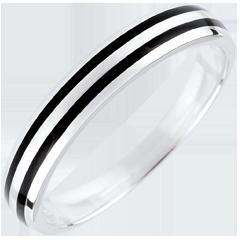 خاتم زواج كياروسكورو ـ خطان ـ الذهب الأبيض 9 قيراط