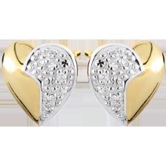 أقراط قلوب عائمة ـ من الذهب الأبيض والذهب الأصفر 9 قيراط